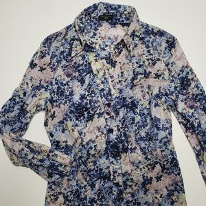 Ann Taylor Floral Watercolor Button Down Top